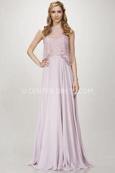 7b1ee95efbd Sleeveless Lace Jewel Neck Chiffon Bridesmaid Dress With Deep-V Back
