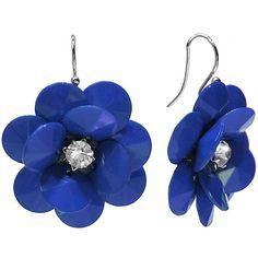 Studio By Carol Dauplaise Silver-Tone Blue Flower Drop Earrings (1.985 HUF) ❤ liked on Polyvore featuring jewelry, earrings, geometric jewelry, blue earrings, flower drop earrings, long earrings and silvertone earrings