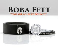 Star Wars Boba Fett His and Her's 3piece Silver Custom Engagement SET Tungsten Wedding Band Ring Mens Womens