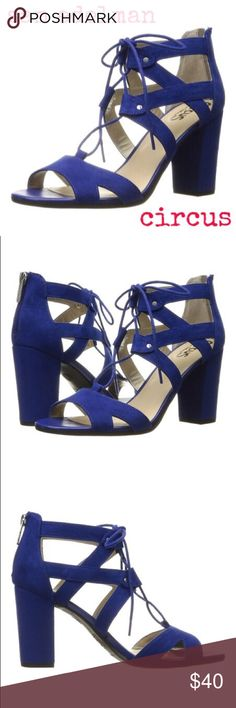 Sam Edelman Nautical Sandals Sam Edelman Circus Nautical Blue Emilia Sandal A towering heel heightens the silhouette of this trend-right lace-up sandal boasting a back zip closure for on-the-go ease.  3.5'' heel Lace-up. Lightly cushioned footbed.  Man-made suede. Worn once indoors. Circus by Sam Edelman Shoes #laceupsandalsheels