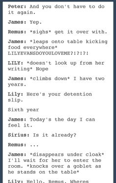 lily and james potter dating fanfiction Read stupid pre dating james potter things according to lily evans from the story marauders headcanons by mustxlovexbooks with 5,994 reads patronus, siriusbla.