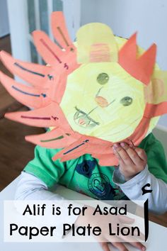 Paper plate lion to learn the letter alif. Alif is for Asad Arabic alphabet craft for kids