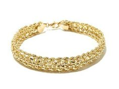 """Michael Anthony Jewelry 10K Woven Rope Chain 7-1/2"""" Bracelet from HSN.com.  Drape your wrist in elegance with this wide, gold chain bracelet. A polished popcorn chain sparkles from within a rope chain border for a look that's luxury defined.  Get your rebate from RebateGiant."""
