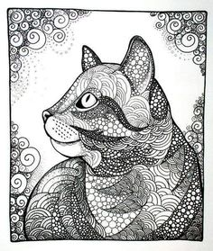 Cat, tabby cat, kitten, zentangle, doodle, illustration, cat drawing, drawing…