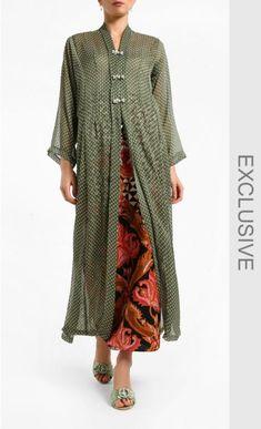 Baju Labuh Bidasari Top in Green & White Polka Dots Kebaya Lace, Kebaya Hijab, Kebaya Dress, Batik Kebaya, Kebaya Muslim, Batik Fashion, Abaya Fashion, Fashion Dresses, Kebaya Modern Dress