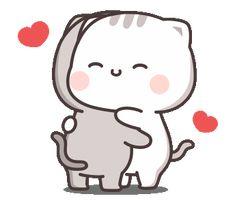 Cutie Cat-Chan four Cute Bear Drawings, Cute Little Drawings, Cute Cartoon Drawings, Cute Kawaii Drawings, Cute Love Pictures, Cute Love Gif, Cute Love Memes, Cute Cat Gif, Cute Couple Cartoon