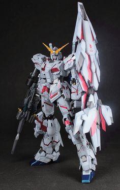 GUNDAM GUY: MG 1/100 Unicorn Gundam + Gatling Beam Guns + Armed Armor DE - Customized Build