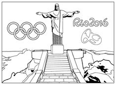 Free coloring page coloring-adult-rio-2016-olympic-games-christ-the-redeemer-statue. Exclusive coloring page : Rio de Janeiro Olympic games 2016, by Sofian