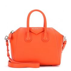 Givenchy Antigona Mini Leather Tote ($1,535) ❤ liked on Polyvore featuring bags, handbags, tote bags, givenchy, purses, totes, orange, orange leather tote, orange purse and orange leather tote bag