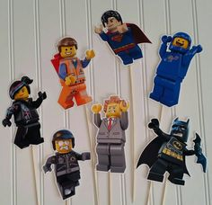 Lego Centerpiece Pick, Lego Party Supplies, Lego birthday, lego boy Party, Lego party centerpieces, Legoland Party, lego batman pick by PaperedAffair on Etsy