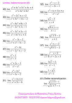 Ejercicios de límites, Matemática, Indeterminación 0/0 | santi ...