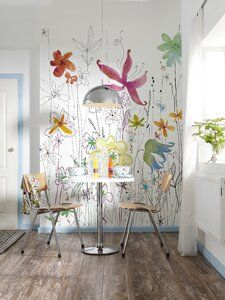 The Joli wall mural has a happy aura. A colorful and whimsical floral creates an… The Joli wall mural has Embossed Wallpaper, Damask Wallpaper, Wallpaper Panels, Geometric Wallpaper, Wood Plank Wallpaper, Brick Wallpaper Roll, All Modern, Wall Murals, Wall Decor