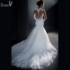 Dressv Fashionable Long Sleeves Mermaid Custom Made Lace High Neck Sheer  Hollow Back Plus Size Bridal Gowns eeda0dfdef05