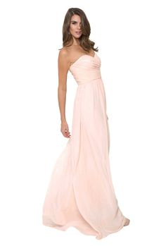 51a432b746 Monique Lhuillier  Madeline Dress  in Blush. This chiffon bridesmaid dress  has a delicately
