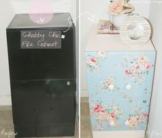 I love the way my once plain and dull file cabinet turned lively and shabby chic! :) I could not find a good tutorial on how t...