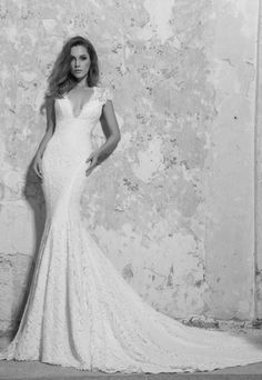 V-Neck Sheath Wedding Dress  with No Waist/Princess Seams in Lace. Bridal Gown Style Number:33362336