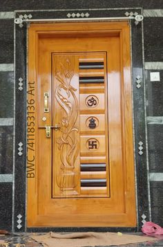 Wooden Front Door Design, Wooden Front Doors, Wood Design, Pop Ceiling Design, Bedroom False Ceiling Design, Modern Main Gate Designs, Door Design Photos, House Outside Design, Shree Ganesh