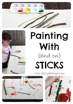 Toddlers can paint with sticks or on sticks. Great for fine motor and pre-writing skills practise, as well as feeding creativity. Nature Activities, Camping Activities, Preschool Activities, Outdoor Activities, Outdoor Learning, Nursery Activities, Toddler Art, Toddler Crafts, Camping With Toddlers