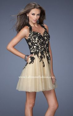 Net Lace Dress by La Femme for sale at $398.00 amazing price, it is designer dress and made to order! Its product model is [designerdrsses302] . CHEAPERDESIGNERDRESSES.COM , will be your friend.