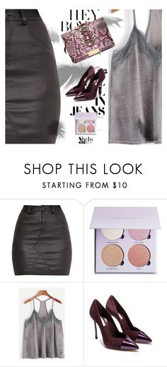 """""""GREY LACE VELVET CAMI TOP – contest sponsored by SHEIN.COM"""" by basemah ❤ liked on Polyvore featuring Casadei and GEDEBE"""