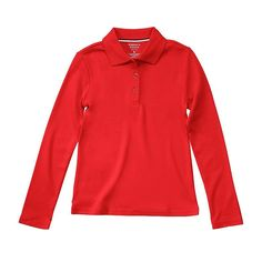 Girls 7-20 & Plus Size French Toast School Uniform Long-Sleeved Polo Shirt, Girl's, Size: 18-20, Red