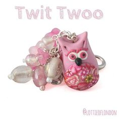 Twit Twoo from Lottie Of London with our Owl Keychain/Handbag charm handmade from polymer clay #Lottieoflondon