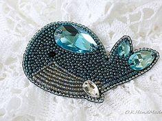 Мастерим брошь «Синий кит» в технике «вышивка бисером»   Ярмарка Мастеров - ручная работа, handmade