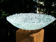 Upcycle bowl made from old shower door...looks like cracked ice.