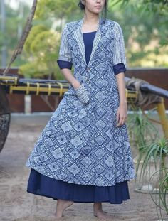 Blue Long Kurti With Long Printed Jacket