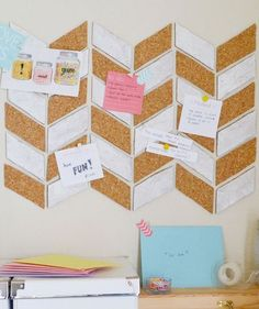 Organize your to-do lists and important papers by putting them front and center on your walls. With two cork boards, a craft knife, and white acrylic paint, you can create this cool corkboard design to place on the wall in front of your desk.
