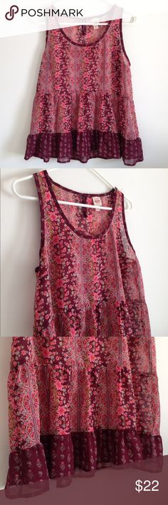 "Burgundy / Pink Bohemian Tank Gorgeous! Sheer. Ruffle/ Florence hem. Button on the back. 100% polyester. Lightweight. No stains or holes. Measurement laying flat: bust: 19"" length: 25"" Mossimo Supply Co Tops Tank Tops"