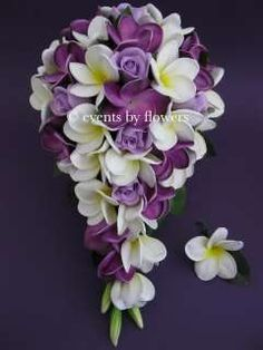 ... PURPLE ROSE PLUMERIA FRANGIPANI WEDDING BOUQUET BRIDE BRIDAL FLOWERS