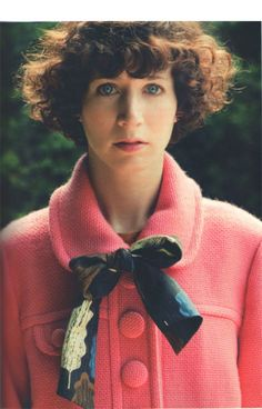 Miranda July Don't know who she is, but i am loving her pink coat A LOT!