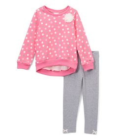 Take a look at this Pink Geometric Sweater & Gray Leggings - Infant, Toddler & Girls today!