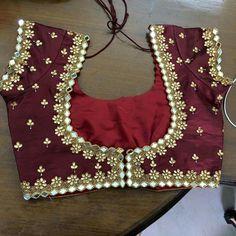 Mirror n kundan wrk blouse Traditional Blouse Designs, Simple Blouse Designs, Stylish Blouse Design, Wedding Saree Blouse Designs, Pattu Saree Blouse Designs, Mirror Work Blouse Design, Maggam Work Designs, Crochet, Maggam Works