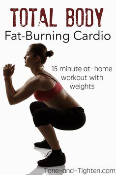Total Body Fat-Burning Cardio Workout on Tone-and-Tighten.com - use a pair of dumbbells to increase the intensity!