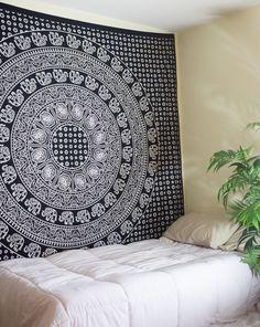 Gorgeous Black & White Bordered Mandala Tapestry at $24.99 | www.thebohemianshop.com #Tapestries #Boho #Bohemian