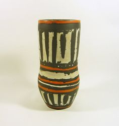 image 0 1950s Art, Art Fund, Blue Mosaic, Pottery Art, Hungary, Stoneware, Objects, Stripes, Vase