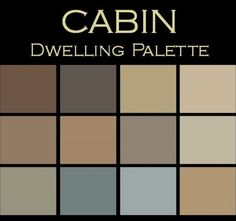 """Color in Space """"Cabin"""" Palette™. Each palette consists of 12 Benjamin Moore® paint colors in 4"""" swatches and no colors are repeated. The intentional selection of the twelve colors ensures that they are energetically balanced and will create the feeling of the dwelling for which it is named. One color could work as your sofa, another as the rug, and another as a dominant color in a piece of art, kitchen/bath tile. The 12 colors complement each other, create flow, continuity."""