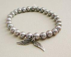 Freshwater Pearl Bracelets steel grey sterling Angel Wings by DiBA, $35.00