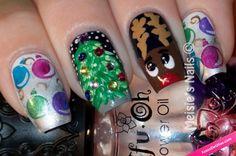 Diseños de manicura para la época navideña. #Manicura #Uñas #NailsArt #Navidad…