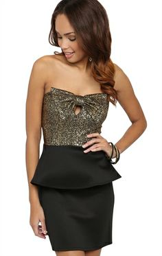 Deb Shops #Peplum #Dress with Textured #Metallic #Bow Bodice $32.90
