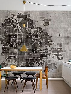 www.wallanddeco.com -- city plan as room backdrop