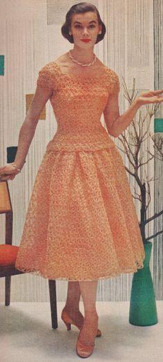 vintage crochet lace formal evening dress 1950s