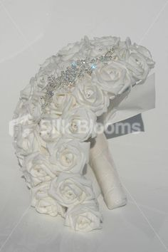 Cascading Bridal Bouquets   Cascading Artificial White Rose Wedding Bridal Bouquet w/ Crystal ...