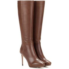 Jimmy Choo Hoxton 100 Knee-High Leather Boots ($1,025) ❤ liked on Polyvore featuring shoes, boots, brown, knee high leather boots, knee high boots, brown knee length boots, brown leather knee high boots and leather boots