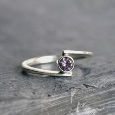 Silver ring Alexandrite Gemstone lilac pink Sterling Silver Ring, Hand forged Ring Contemporary Design