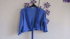PER UNA PRETTY   BLUE  FLOWER TRIM   CARDIGAN /SHRUG SIZE 18 #PerUna…