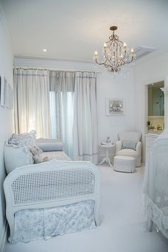i love the attached bathroom and the matching daybed and crib. Blue Bedroom, Trendy Bedroom, Bedroom Wall, Kids Bedroom, Bedroom Romantic, Baby Boy Nurseries, Baby Cribs, Light Blue Nursery, Little Girl Rooms