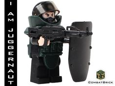 Juggernaut - Custom LEGO Modern Warfare Army Military Minifig with a Machine Gun and EOD (Explosive Ordinance Disposal) Suit